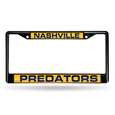 Nashville Predators Black Laser Chrome License Plate Frame