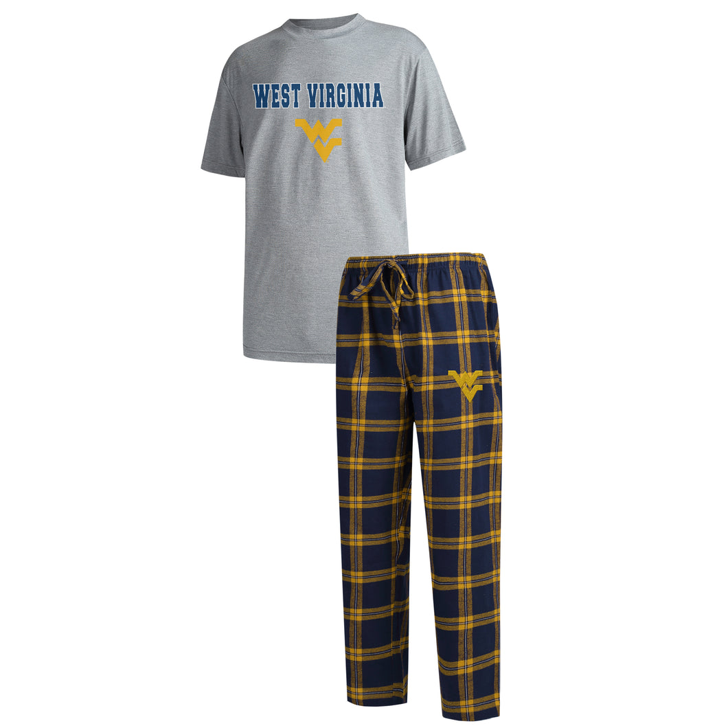 Men's West Virginia Mountaineers Pajama Pants and T-Shirt Sleepwear Set, West Virginia Mountaineers Pajamas