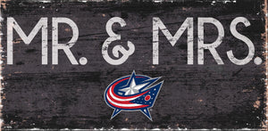 "Columbus Blue Jackets Mr. & Mrs. Wood Sign - 6""x12"""