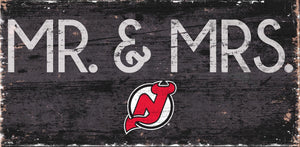 "New Jersey Devils Mr. & Mrs. Sign Wood Sign - 6""x12"""