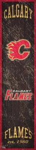 "Calgary Flames Heritage Banner Wood Sign - 6""x24"""