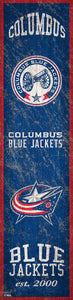 "Columbus Blue Jackets Heritage Banner Wood Sign - 6""x24"""