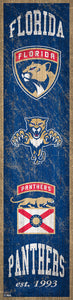 "Florida Panthers Heritage Banner Wood Sign - 6""x24"""