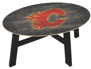 Calgary Flames Distressed Wood Coffee Table