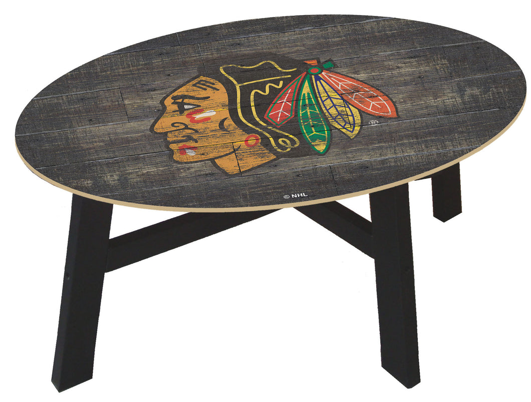 Chicago Blackhawks Distressed Wood Coffee Table