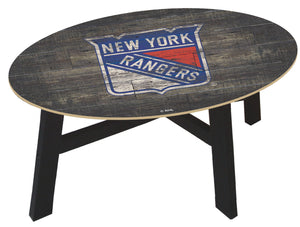 New York Rangers Distressed Wood Coffee Table