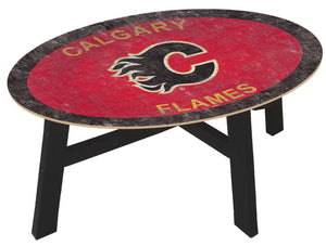 Calgary Flames Team Color Wood Coffee Table