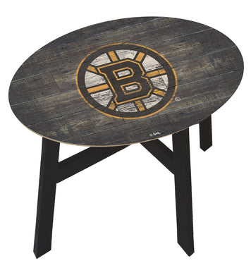 Boston Bruins Distressed Wood Side Table