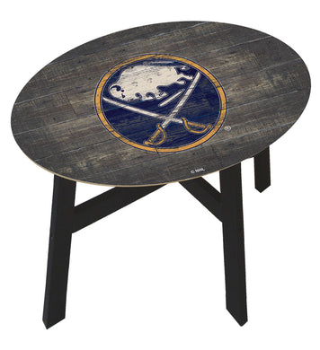 Buffalo Sabres Distressed Wood Side Table