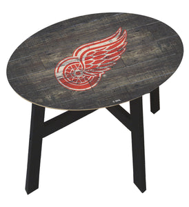 Detroit Red Wings Distressed Wood Side Table