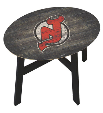 New Jersey Devils Distressed Wood Side Table