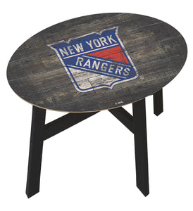 New York Rangers Distressed Wood Side Table