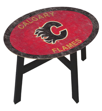 Calgary Flames Team Color Wood Side Table