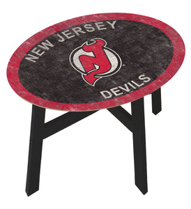 New Jersey Devils Team Color Wood Side Table