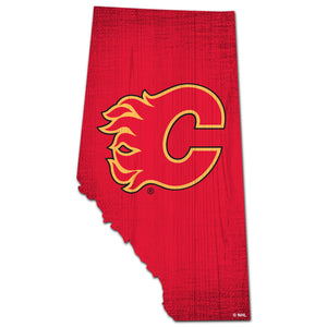 Calgary Flames Team Color Logo State Sign