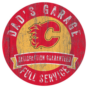 Calgary Flames Dad's Garage Wood Sign