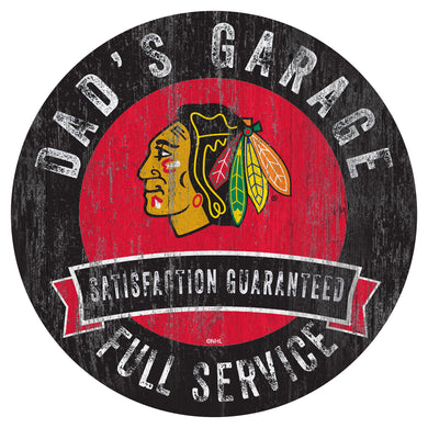 Chicago Blackhawks Dad's Garage Wood Sign