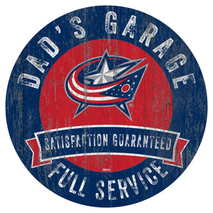 Columbus Blue Jackets Dad's Garage Wood Sign