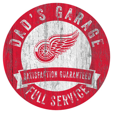 Detroit Red Wings Dad's Garage Wood Sign