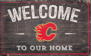 Calgary Flames Welcome To Our Home Wood Sign