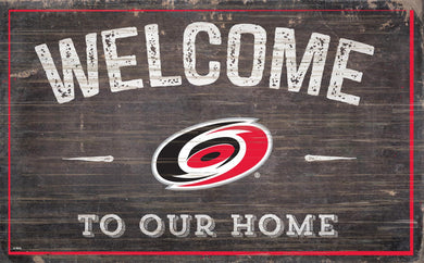 Carolina Hurricanes Welcome To Our Home Wood Sign