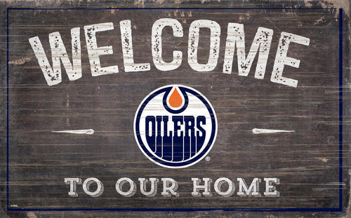 Edmonton Oilers Welcome To Our Home Wood Sign