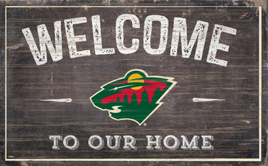Minnesota Wild Welcome To Our Home Wood Sign