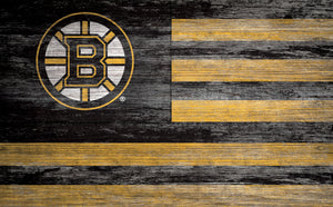 Boston Bruins Distressed Flag Sign