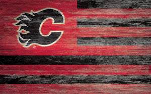Calgary Flames Distressed Flag Sign