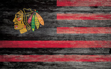 Chicago Blackhawks Distressed Flag Sign