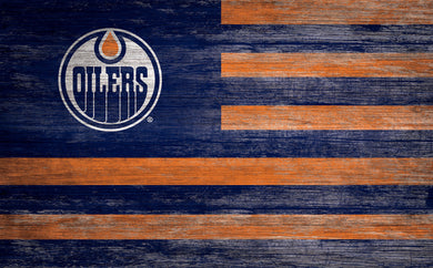 Edmonton Oilers Distressed Flag Sign