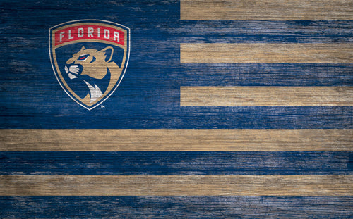 Florida Panthers Distressed Flag Sign