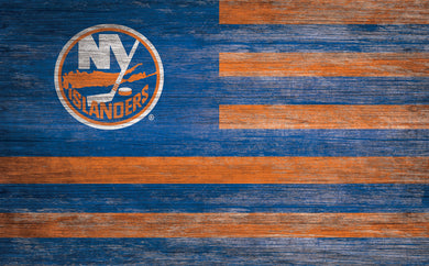 New York Islanders Distressed Flag Sign