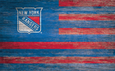 New York Rangers Distressed Flag Sign