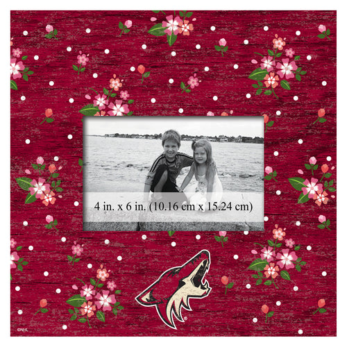 Arizona Coyotes In Floral Picture Frame