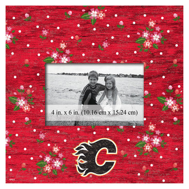 Calgary Flames Floral Picture Frame