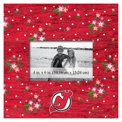 New Jersey Devils Floral Picture Frame
