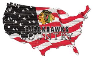 Chicago Blackhawks USA Shape Flag Cutout
