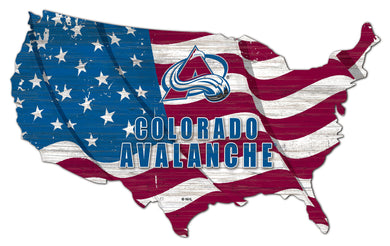 Colorado Avalanche USA Shape Flag Cutout