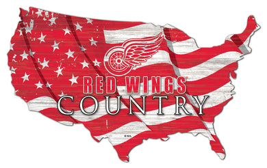 Detroit Red Wings USA Shape Flag Cutout