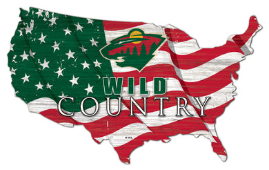 Minnesota Wild USA Shape Flag Cutout