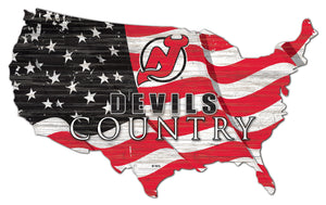 New Jersey Devils USA Shape Flag Cutout