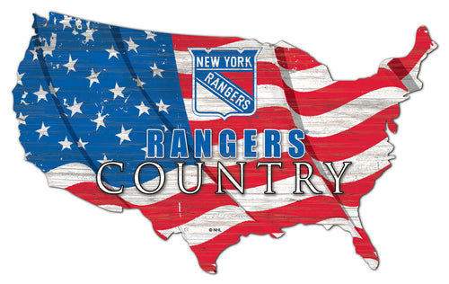 New York Rangers USA Shape Flag Cutout