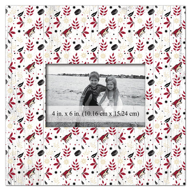 Arizona Coyotes In Floral Pattern Picture Frame