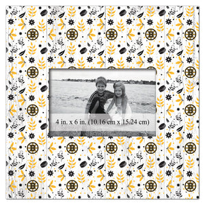 Boston Bruins Floral Pattern Picture Frame
