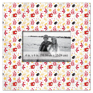 Calgary Flames Floral Pattern Picture Frame