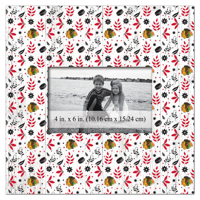 Chicago Blackhawks Floral Pattern Picture Frame