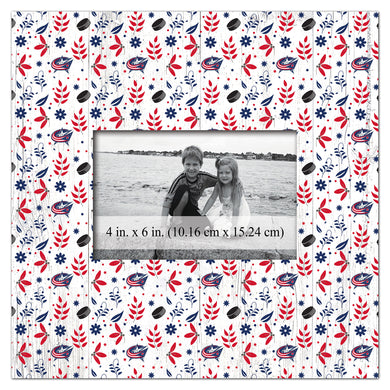 Columbus Blue Jackets Floral Pattern Picture Frame