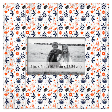 Edmonton Oilers Floral Pattern Picture Frame