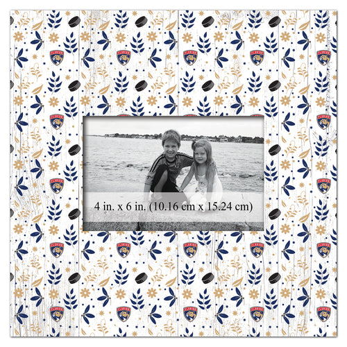 Florida Panthers Floral Pattern Picture Frame
